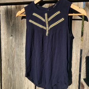 Navy Blue Tank Top with Crochet Detail